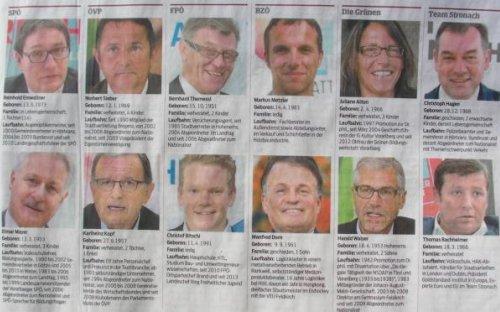 Die Kandidaten für's Parlament aus Vorarlberg. Oben Wahlkreis Nord (Bezirke Bregenz und Dornbirn), unten Wahlkreis Süd (Bezirke Felkdkirch und Bludenz)