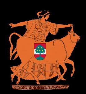 Montage: Vase 480 v. Chr. Europa und der Stier mit Wappen der Stadt Dornbirn